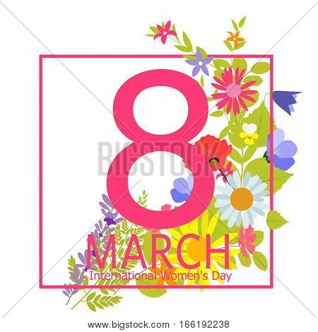 Womens Day Greeting Card 8 March Vector Illustration EPS10