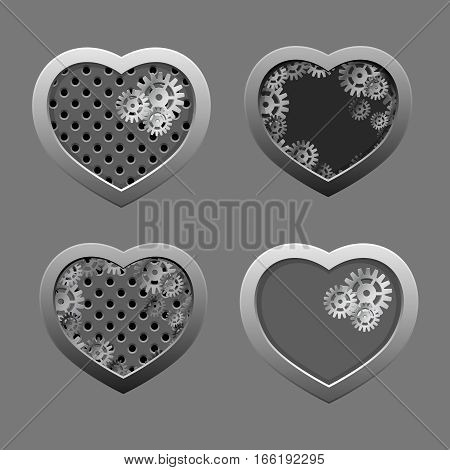 Set of Metal hearts with silver gears and iron background. Valentine day.