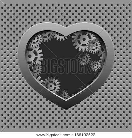 Metal heart with silver gears on the dark iron background. Valentine day.