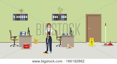 Cleaning in the green office. Cleaning woman standing with a mop in the room. There is also a
