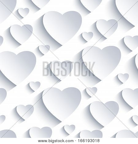 Stylish Valentines day background seamless pattern with white and grey 3d hearts cutting paper. Beautiful abstract modern wallpaper. Romantic love card. Vector illustration.