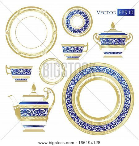Fine China - Set of porcelain. Services. Teapots, cups, sugar bowls, saucers and plates.