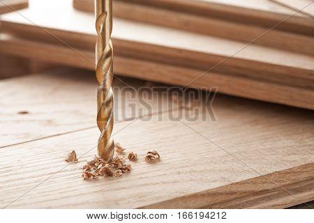 Metal Drill Bit Make Holes In Wooden Oaks Plank