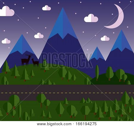 vector illustration Mountain landscape beside the road, the hills are covered with forests, moonlit night, stars in the sky.