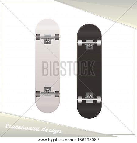 Skateboard Design. Dark and light on white background. You can use as a template for image presentation design skateboard
