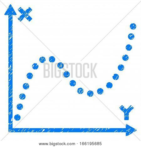 Dotted Plot grainy textured icon for overlay watermark stamps. Flat symbol with dirty texture. Dotted vector blue ink rubber seal stamp with grunge design. Designed with round dots.