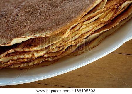 A stack of Freshly baked pancakes macro shot