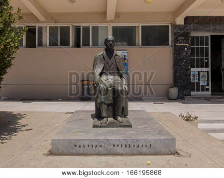 Rethymno Greece. July 28 2016: Statue of Panteles Prevelakes near Rethymno Town Hall. Pandelis Prevelakis was a Greek novelist poet dramatist and essayist--one of the leading Greek prose writers of the