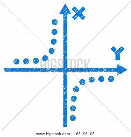 Hyperbola Plot grainy textured icon for overlay watermark stamps. Flat symbol with dust texture. Dotted vector blue ink rubber seal stamp with grunge design. Designed with round dots.