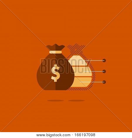 Financial investment plan, money sack icon, interest return, income diversification strategy, pension savings account, budget fund vector illustration poster