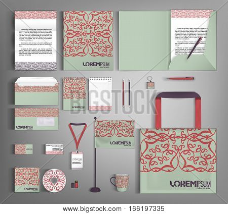Green corporate identity template design with floral pattern. Business set stationery.  Vector company style for brandbook and guideline.
