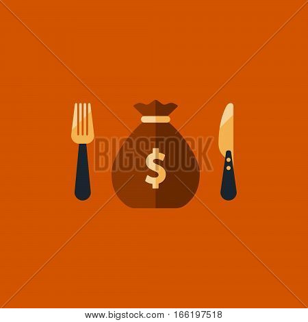 Greed concept, financial fund spending plan, money sack icon, income strategy, savings account, budget cut vector illustration