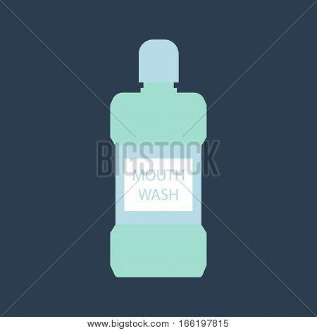 Mouth wash bottle on the blue background. Vector illustration