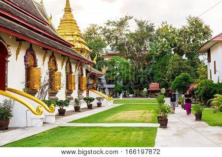 Chiang Mai, Thailand - November 28, 2016 :  Golden Chedi