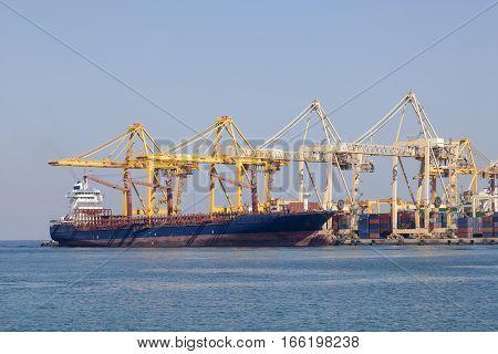 Industrial port in Khor Fakkan. Emirate of Sharjah United Arab Emirates