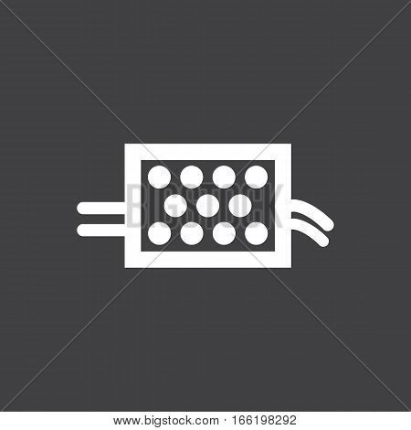 Vector illustration of a sign on the car dashboard on a gray background. The icon indicates warning particulate filter. Design of button