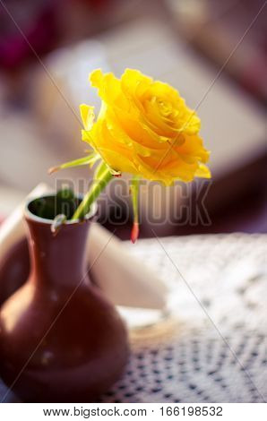 Photo of the yellow rose in the tiny brown vase on cafe table