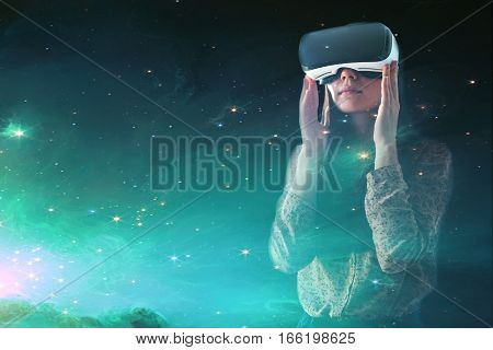 Woman with glasses of virtual reality. Future technology concept.
