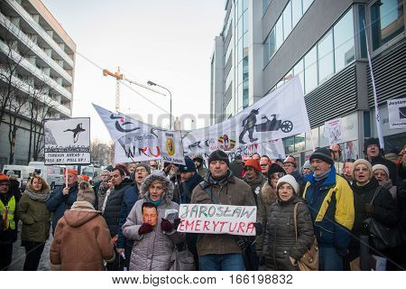 Wroclaw, Poland - January 22, 2017: Demonstration Organized By Kod In Wroclaw Against Pis Government