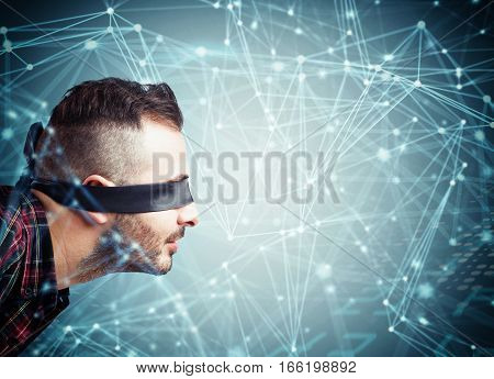 Man blindfolded in a interconnection spheres connected each other. System of social network concept