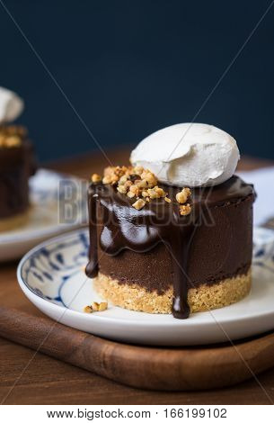 Double chocolate chestnut mousse cake in a small plate