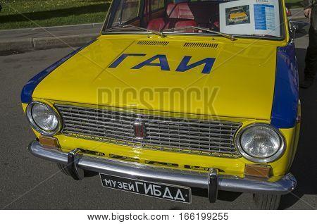 MOSCOW RUSSIA - OCTOBER 1 2016: Old soviet VAZ 2101 car. Traffic police patrol car version.