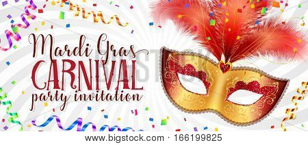 Red and golden carnival mask with feathers on twisted white background, vector Mardi Gras invitation flyer template