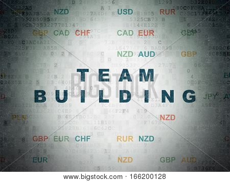 Finance concept: Painted blue text Team Building on Digital Data Paper background with Currency