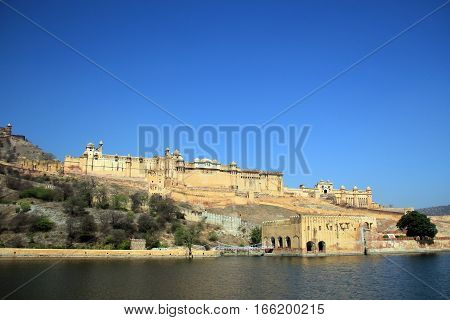 View of Amer Fort outside Jaipur. Amer India
