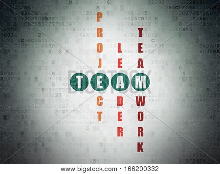 Finance concept: Painted green word Team in solving Crossword Puzzle on Digital Data Paper background