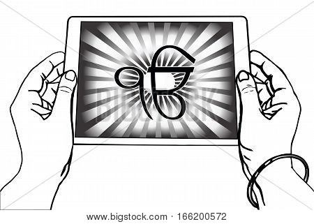 Hands holding a tablet on which the Ek Onkar is the symbol of Sikhism. Black-and-white gradient rays, a transparent background.