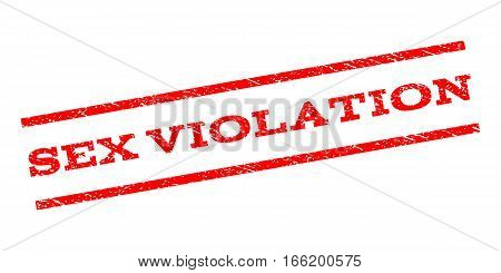 Sex Violation watermark stamp. Text tag between parallel lines with grunge design style. Rubber seal stamp with unclean texture. Vector red color ink imprint on a white background.