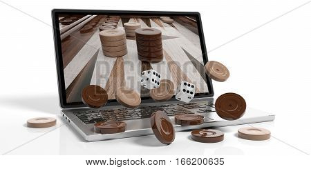 Wooden Backgammon Out Of A Laptop. 3D Illustration