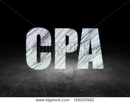 Business concept: Glowing text CPA in grunge dark room with Dirty Floor, black background
