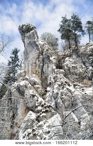 Rock formations in winter at Slovak paradise