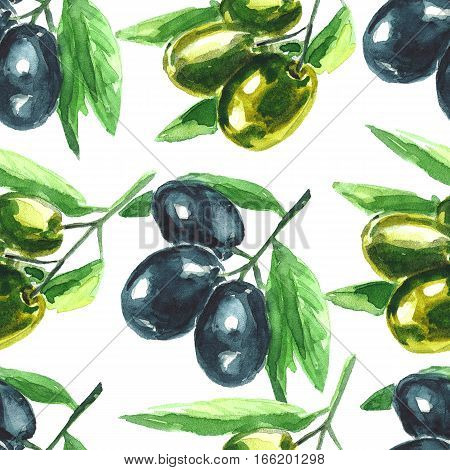 Watercolor illustration. Olive branch. Seamless pattern. Hand drawn