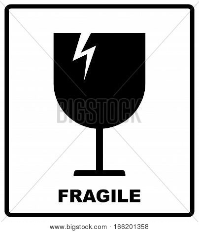 Breakable or fragile material packaging symbol. Vector illustration, black simple flat silhouettes of glass isolated on white
