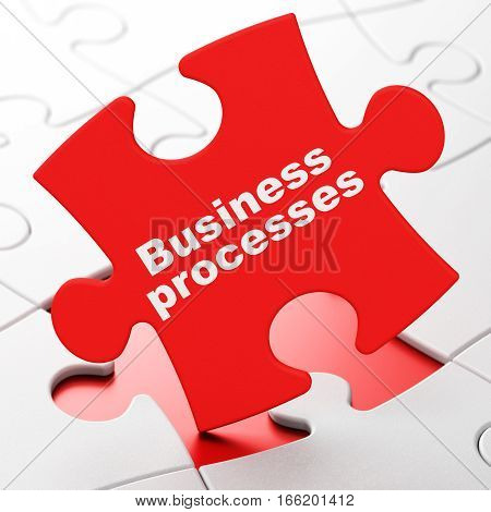 Finance concept: Business Processes on Red puzzle pieces background, 3D rendering