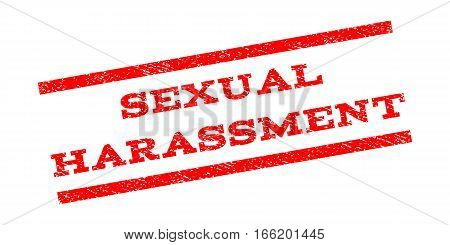 Sexual Harassment watermark stamp. Text tag between parallel lines with grunge design style. Rubber seal stamp with scratched texture. Vector red color ink imprint on a white background.