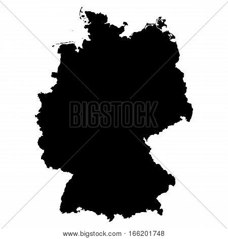 The Map Of Germany. Silhouette of Germany in high resolution. Vector illustration.
