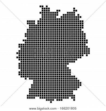 The Map Of Germany. Silhouette of Germany is made up of square dots. Original abstract vector illustration.