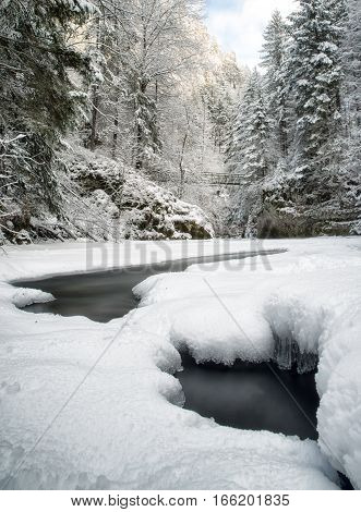Frozen river Hornad in Slovak paradise. Long exposure photography