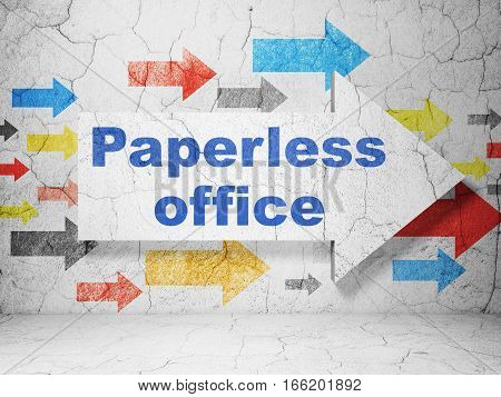 Finance concept:  arrow with Paperless Office on grunge textured concrete wall background, 3D rendering
