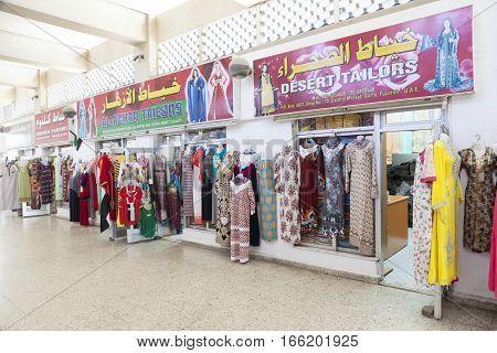 FUJAIRAH UAE - DEC 1 2016:Fashion store at the market in the city of Fujairah. United Arab Emirates Middle East
