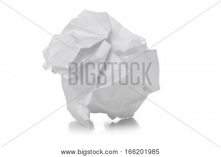 Crumbled white paper ball on white background - waste or fail concept
