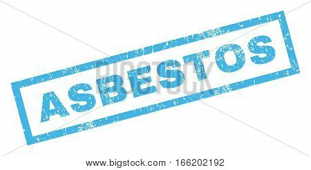 Asbestos text rubber seal stamp watermark. Tag inside rectangular banner with grunge design and unclean texture. Inclined vector blue ink emblem on a white background.