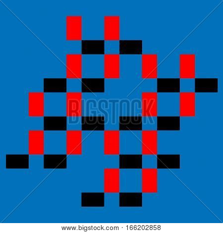 Abstract composition with colored squares on cyan background.