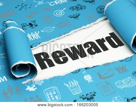 Business concept: black text Reward under the curled piece of Blue torn paper with  Hand Drawn Business Icons, 3D rendering
