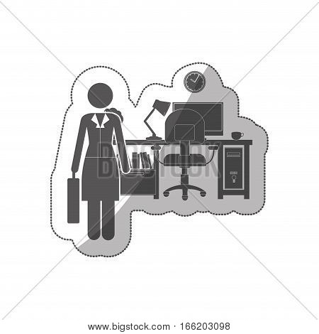 sticker silhouette woman administrator in office vector illustration