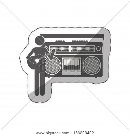 sticker silhouette guitar player with casset stereo recorder vector illustration